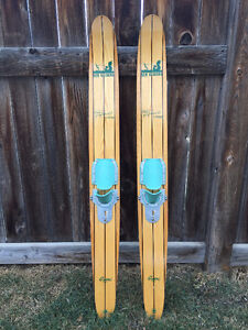 Vintage George Athans Jr. Signature Wooden Water Skis