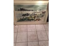 Large framed oil and watercolour painting of Chinese Junks, signed