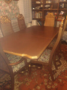 1960s GOLDEN FRENCH TABLE 6 CHAIRS BUFFET HUTCH SET OR SEPARATE