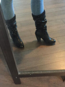 FAUX LEATHER CALL IT SPRING LIKE NEW  BOOTS WITH KNIT CUFF 8.5