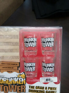 Jenga Tower with 4 Shot glasses, Fun drinking game DRUNKEN TOWER