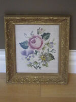 Vintage Hudson's Bay Company Crochet/Needlepoint Framed Artwork