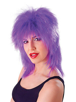 80s Glam Punk Rock Rocker Tinsel Purple Tina Turner Mullet Wig Fancy Dress Party
