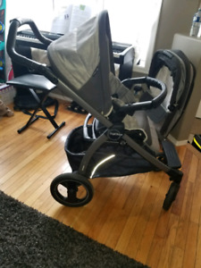 Peg Perego book pop up stroller with bassinet, car seat, and bas