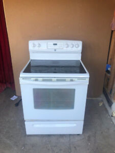 kenmore white smooth glass top stove for sale