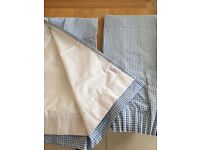 Little White Company blue / white checked gingham black out curtains.