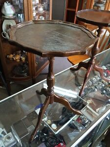 Antique mahogany leather top side table