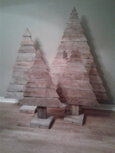 Rustic wooden Christmas trees