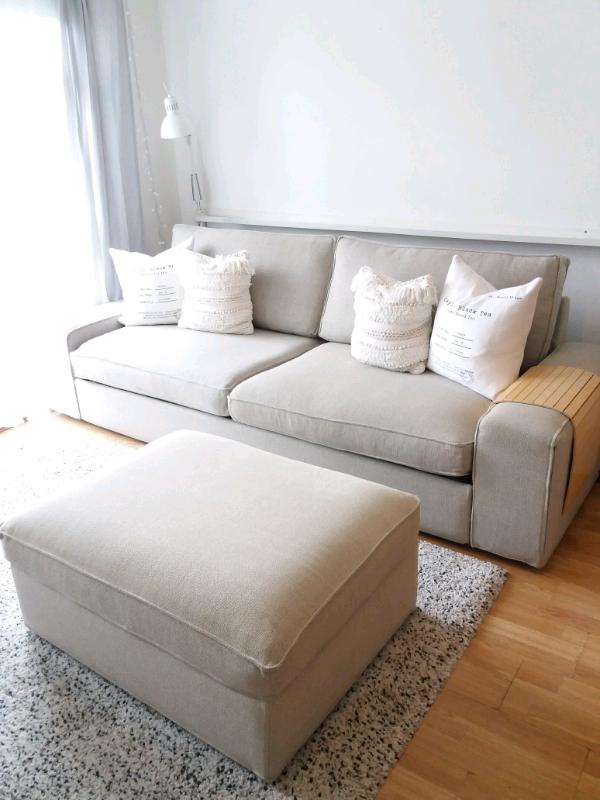 Ikea KIVIK Sofa Bed & Footstool Light Beige