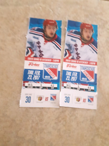 2 ice level tickets for Thursday February 23