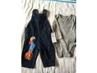 Brand new M&S dungarees and matching top 3-6 months