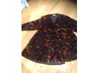 Multicoloured Velvet A Line Coat