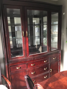 Solid wood and glass china display cabinet