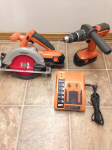 Ridgid  cordless circular saw and 18 V drill