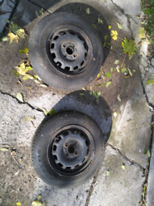 """2 gently used all-season 13"""" tires with rims – 155 80 R13"""