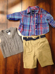Boys Chaps Outfit with Oshkosh Sweater  - 3M