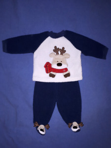 First Moments Baby Christmas Reindeer 2pc Suit Size 0-3mts