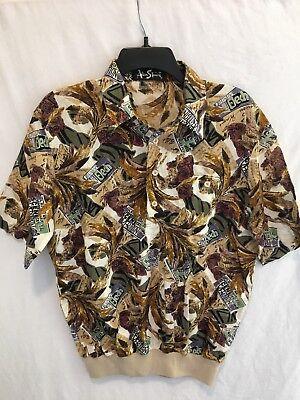 Alan Stuart Vintage Mens Waistband T-Shirt Cotton Casual Top Button Up Size M