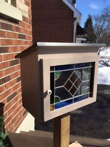 Little Free Library with Stained Glass window