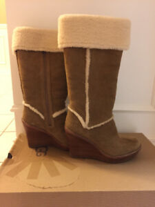Ugg Aubrie Shearling Wedge Boot Size 8