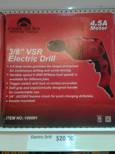 "Electric Drill 3/8"" VSR (Under The Sun Power Tools) *NEW*"