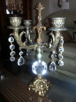 BEAUTIFUL SOLID BRASS CANDELABRA with CRYSTAL ORNAMENTS