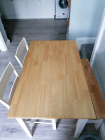 Table, 2 chairs and bench