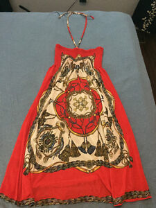 One size fits most, red halter dress with empire waist