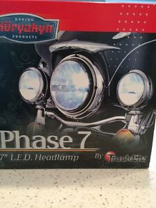 """L.E.D.  7""""  3 Prong connector Headlamp D.O.T. Compliant Phase 7"""