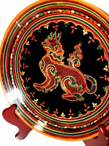 fine BURMESE LACQUER antique WOOD Plate FOO LION gorgeous PanYun Cambridge Kitchener Area image 3