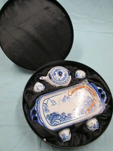 Vintage Bombay Blue /White 8pcs of china tea set in original box