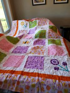 Perfect homemade butterfly flower quilt