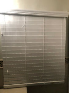 """Window Blind White Wood 41 1/2 """" w x 49"""" h in good condition."""