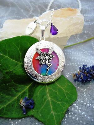 Rainbow Fairy LOCKET Necklace Pendant Antique Bronze Fantasy Wicca Fae Magic