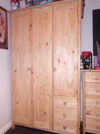 Full pine wardrobe set.