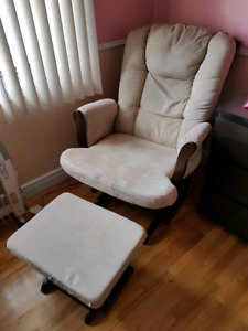 Brown/Beige Rocking Chair and Rocking Ottoman (Chaise Berçante)