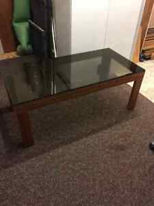 Teak coffee table with glass top