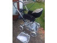 Silver cross elegance pushchair, carry cot