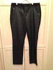 Leather-look pants in black (front only)  Size 15/16  Brand new