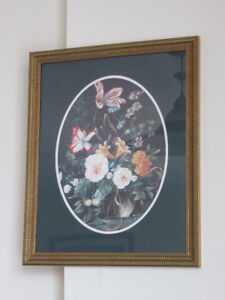 Framed flower art print 18x23""