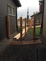 6x6 Cedar Fence Posts Supplied and Installed