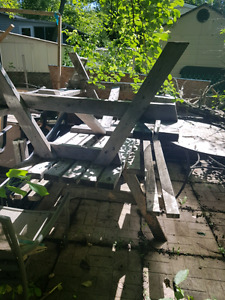 2 wooden picnic tables