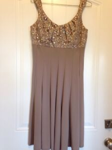 Pretty Mother of bride dress with shawl  (taupe) size 8-$60.00
