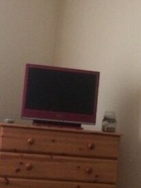 Small pink Sony Bravia tv for sale