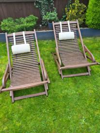 2 Fsc wooden garden chairs need tlc