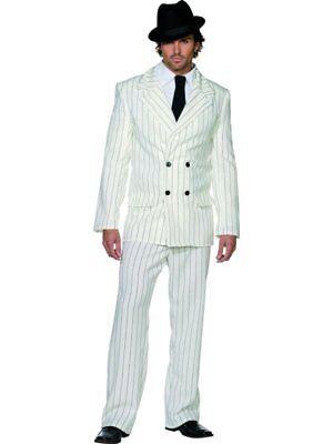 20s Gangster Zoot Suit Mens Fancy Dress Costume S 34-36