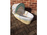 Mothercare unisex girl boy Moses basket with mattress