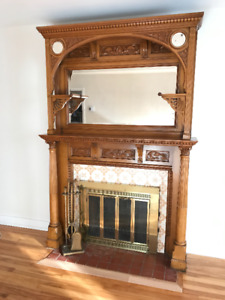 Hand carved wood fireplace surround