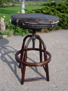 Antique Wooden Industrial Drafting Stool ca 1890 - 1910