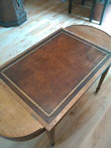 Vintage leather top table with storage